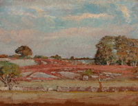 ALLEN BUTLER TALCOTT (American, 1867-1908) Rocks and Barberry, 1901 Oil on panel 12 x 16 inches (
