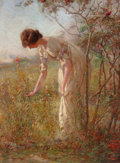 Fine Art - Painting, American:Antique  (Pre 1900), DAVID BIRDSEY WALKLEY (American, 1849-1934). PickingFlowers. Oil on canvas. 27 x 20 inches (68.6 x 50.8 cm). Signedlow...