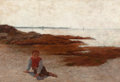 Fine Art - Painting, American:Antique  (Pre 1900), ARTHUR HOEBER (American, 1854-1915). The Beach atConcarneau, circa 1882-85. Oil on canvas. 22 x 32 inches (55.9x 81.3 ...
