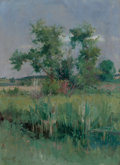 Fine Art - Painting, American:Antique  (Pre 1900), HARRY AIKEN VINCENT (American, 1864-1931). Impressionist View ofTrees and a Stream, 1892. Oil on canvas. 24 x 17 inches...