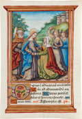 Books:Illuminated Manuscripts, [Illuminated Manuscript]. Illuminated Miniature of the Visitation from a Book of Hours. [Central or Northern France, probabl...