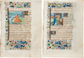 Books:Illuminated Manuscripts, [Illuminated Manuscript]. Pair of Illuminated Leaves from a Flemish Book of Hours featuring St. Nicholas, Mary Magdalene, and ... (Total: 2 Items)