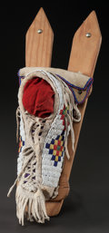 American Indian Art:Beadwork and Quillwork, A COMANCHE BEADED HIDE MODEL BABY CARRIER. c. 1925...