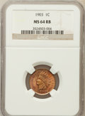 Indian Cents: , 1903 1C MS64 Red and Brown NGC. NGC Census: (300/154). PCGSPopulation (503/83). Mintage: 85,094,496. Numismedia Wsl. Price...