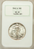 Walking Liberty Half Dollars: , 1942-D 50C MS65 NGC. NGC Census: (1542/1005). PCGS Population(2788/1245). Mintage: 10,973,800. Numismedia Wsl. Price for p...