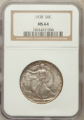 Walking Liberty Half Dollars: , 1938 50C MS64 NGC. NGC Census: (623/1067). PCGS Population(1009/1756). Mintage: 4,118,152. Numismedia Wsl. Price for probl...