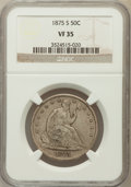 Seated Half Dollars: , 1875-S 50C VF35 NGC. NGC Census: (2/244). PCGS Population (3/326).Mintage: 3,200,000. Numismedia Wsl. Price for problem fr...