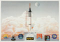 Explorers:Space Exploration, Mercury Seven Astronauts: Limited Edition Lithograph Signed by Six....