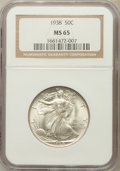 Walking Liberty Half Dollars: , 1938 50C MS65 NGC. NGC Census: (752/315). PCGS Population(1167/589). Mintage: 4,118,152. Numismedia Wsl. Price forproblem...
