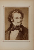 Books:Prints & Leaves, [German Composer]. Franz Schubert. Photographic Portrait Taken fromRimbault's Gallery of German Composers. Stro...