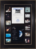 Explorers:Space Exploration, Apollo 11 Lunar Module Flown Film Segment in Display Presentation with Earth & Moon Photo Signed by Seven Moonwalkers. ...