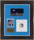 Explorers:Space Exploration, Apollo 12 Lunar Module Flown Flag Decal in Framed Display. ...