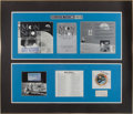 "Explorers:Space Exploration, Apollo 14 Lunar Module Flown Safety Line and Apollo-Soyuz Test Project Flown Beta Cloth Insignia in Framed ""Moon Shot"" Display..."