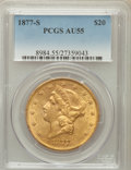 Liberty Double Eagles: , 1877-S $20 AU55 PCGS. PCGS Population (211/1279). NGC Census:(87/1834). Mintage: 1,735,000. Numismedia Wsl. Price for prob...