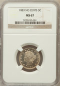 Liberty Nickels: , 1883 5C No Cents MS67 NGC. NGC Census: (59/0). PCGS Population(16/0). Mintage: 5,479,519. Numismedia Wsl. Price for proble...
