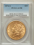 Liberty Double Eagles: , 1876-S $20 AU58 PCGS. PCGS Population (689/1404). NGC Census:(2187/1731). Mintage: 1,597,000. Numismedia Wsl. Price for pr...