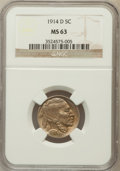 Buffalo Nickels: , 1914-D 5C MS63 NGC. NGC Census: (144/331). PCGS Population(247/556). Mintage: 3,912,000. Numismedia Wsl. Price for problem...