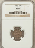 Seated Dimes: , 1883 10C AU58 NGC. NGC Census: (20/379). PCGS Population (26/445).Mintage: 7,674,673. Numismedia Wsl. Price for problem fr...