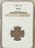 Seated Dimes: , 1884 10C AU58 NGC. NGC Census: (14/327). PCGS Population (6/317).Mintage: 3,365,505. Numismedia Wsl. Price for problem fre...