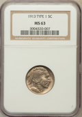 Buffalo Nickels: , 1913 5C Type One MS63 NGC. NGC Census: (598/5887). PCGS Population(1140/8966). Mintage: 30,993,520. Numismedia Wsl. Price ...