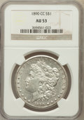 Morgan Dollars: , 1890-CC $1 AU53 NGC. NGC Census: (108/5025). PCGS Population(135/9171). Mintage: 2,309,041. Numismedia Wsl. Price for prob...