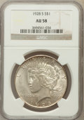 Peace Dollars: , 1928-S $1 AU58 NGC. NGC Census: (368/3634). PCGS Population(378/4915). Mintage: 1,632,000. Numismedia Wsl. Price for probl...