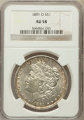 Morgan Dollars: , 1891-O $1 AU58 NGC. NGC Census: (100/3787). PCGS Population(89/5015). Mintage: 7,954,529. Numismedia Wsl. Price for proble...