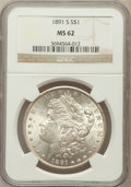Morgan Dollars: , 1891-S $1 MS62 NGC. NGC Census: (848/3239). PCGS Population(1255/4937). Mintage: 5,296,000. Numismedia Wsl. Price for prob...