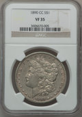 Morgan Dollars: , 1890-CC $1 VF35 NGC. NGC Census: (49/5399). PCGS Population(79/9748). Mintage: 2,309,041. Numismedia Wsl. Price for proble...