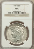 Peace Dollars: , 1926-S $1 MS62 NGC. NGC Census: (695/3671). PCGS Population(967/4932). Mintage: 6,980,000. Numismedia Wsl. Price for probl...