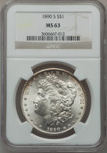 Morgan Dollars: , 1890-S $1 MS63 NGC. NGC Census: (2670/2538). PCGS Population(3442/3685). Mintage: 8,230,373. Numismedia Wsl. Price for pro...
