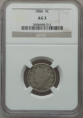 Liberty Nickels: , 1886 5C AG3 NGC. NGC Census: (0/488). PCGS Population (81/843).Mintage: 3,330,290. ...