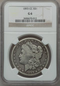 Morgan Dollars: , 1893-CC $1 Good 6 NGC. NGC Census: (103/3061). PCGS Population(115/5507). Mintage: 677,000. Numismedia Wsl. Price for prob...