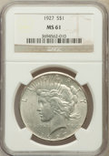 Peace Dollars: , 1927 $1 MS61 NGC. NGC Census: (369/3688). PCGS Population(207/5426). Mintage: 848,000. Numismedia Wsl. Price for problemf...