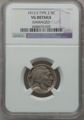 Buffalo Nickels: , 1913-S 5C Type Two -- Damaged -- NGC Details. VG. NGC Census:(39/1331). PCGS Population (71/2110). Mintage: 1,209,000. Num...