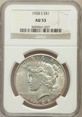 Peace Dollars: , 1928-S $1 AU53 NGC. NGC Census: (113/4227). PCGS Population(159/5526). Mintage: 1,632,000. Numismedia Wsl. Price for probl...