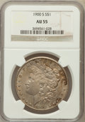 Morgan Dollars: , 1900-S $1 AU55 NGC. NGC Census: (180/2797). PCGS Population(158/4557). Mintage: 3,540,000. Numismedia Wsl. Price for probl...
