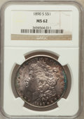 Morgan Dollars: , 1890-S $1 MS62 NGC. NGC Census: (1445/5227). PCGS Population(1656/7170). Mintage: 8,230,373. Numismedia Wsl. Price for pro...