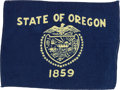 Explorers:Space Exploration, Apollo 14 Flown Oregon State Flag Directly from the Personal Collection of Mission Lunar Module Pilot Edgar Mitchell, with Sig...