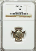 Proof Mercury Dimes: , 1942 10C PR66 NGC. NGC Census: (1454/862). PCGS Population(1570/639). Mintage: 22,329. Numismedia Wsl. Price for problem f...