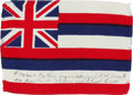Explorers:Space Exploration, Apollo 14 Flown Hawaii State Flag Directly from the Personal Collection of Mission Lunar Module Pilot Edgar Mitchell, Signed a...