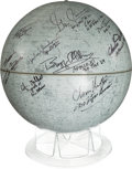 Autographs:Celebrities, Moon Globe Signed by Eight Astronauts and Chris Kraft....