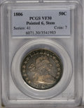 Early Half Dollars: , 1806 50C Pointed 6, Stem VF30 PCGS. O-115, R.1. The T and Y ofLIBERTY are recut, and on the reverse, the lowest berry has ...