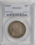 Bust Half Dollars: , 1815/2 50C Fine 12 PCGS. O-101, R.2. An evenly worn example withlilac-gray surfaces and lighter silver highpoints. A few d...