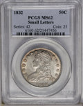 Bust Half Dollars: , 1832 50C Small Letters MS62 PCGS. O-113, R.2. The telltale die dotappears at Liberty's throat. Lustrous with subtle aprico...