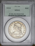 Bust Half Dollars: , 1834 50C Large Date, Large Letters MS62 PCGS. O-102, R.1. Thishighly lustrous Bust half has light golden-brown toning alon...