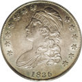 Bust Half Dollars: , 1835 50C MS64 PCGS. O-102, R.3. On this variety, there is an oval area between the curl and the headband, and the 5 of the ...