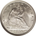 Seated Half Dollars: , 1854 50C Arrows MS65 NGC. This short-lived type rarely appears onthe market as a Gem. The luster quality is strong for the...