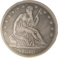 Seated Half Dollars: , 1870-CC 50C Fine 15 PCGS. The survival ratio of the 54,617 piecesstruck at the Carson City facility in this initial year o...