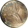 Proof Seated Half Dollars: , 1864 50C PR65 PCGS. Rich mauve, golden-brown, and ocean-bluecoloration embraces this attractive Gem, whose sole defect is ...